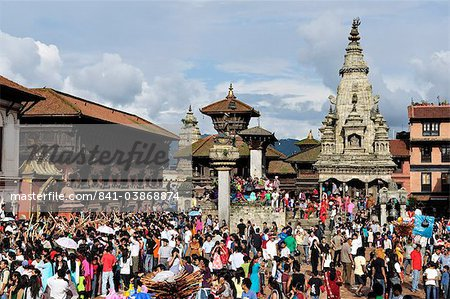 Sa-Paru Gaijatra Festival, Durbar Square, Bhaktapur, UNESCO World Heritage Site, Bagmati, Central Region, Nepal, Asia Stock Photo - Rights-Managed, Image code: 841-03868874