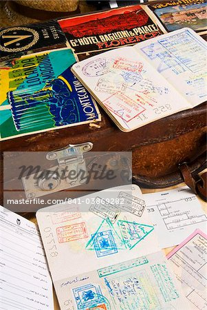 Passport, boarding pass, travel documents and luggage Stock Photo - Rights-Managed, Image code: 841-03869282