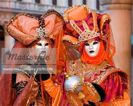 Masked carnival characters in costume, Piazzetta San Marco, San Marco district, Venice, Veneto, Italy, Europe Stock Photo - Rights-Managed, Image code: 841-05781586