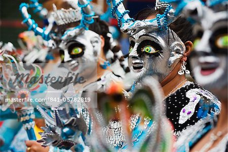 Masked performers in a parade at Oruro Carnival, Oruro, Bolivia, South America Stock Photo - Rights-Managed, Image code: 841-05782819