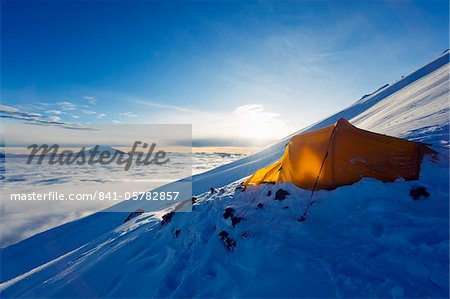 Tent on Volcan Cotopaxi, 5897m, highest active volcano in the world, Ecuador, South America Stock Photo - Rights-Managed, Image code: 841-05782857