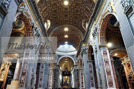 Interior of St. Peter's Basilica, Piazza San Pietro (St. Peter's Square), Vatican City, Rome, Lazio, Italy, Europe Stock Photo - Rights-Managed, Image code: 841-05783419