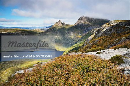 Cradle Mountain and Dove Lake, with deciduous beech (Fagus) in fall colors, Cradle Mountain-Lake St. Clair National Park, UNESCO World Heritage Site, Tasmania, Australia, Pacific
