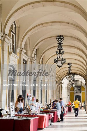 Colonnade in Praca do Comercio, Baixa District, Lisbon, Portugal, Europe Stock Photo - Rights-Managed, Image code: 841-05784336