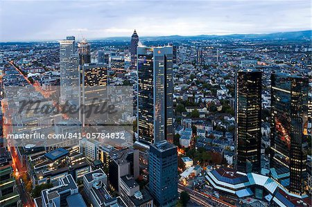 City centre from above at dusk, Frankfurt, Hesse, Germany, Europe Stock Photo - Rights-Managed, Image code: 841-05784832