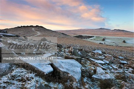 Frost covered Belstone Tor in winter, Dartmoor National Park, Devon, England, United Kingdom, Europe Stock Photo - Rights-Managed, Image code: 841-05785193