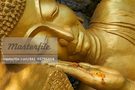 Detail of statue of Buddha, Phu Si Hill, Luang Prabang, UNESCO World Heritage Site, Laos, Indochina, Southeast Asia, Asia Stock Photo - Rights-Managed, Image code: 841-05796408