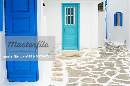 Doors and windows, Chora, Mykonos town, Mykonos, Cyclades, Greek Islands, Greece, Europe Stock Photo - Rights-Managed, Image code: 841-05796721