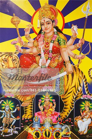 Picture of Hindu goddess Durga, India, Asia Stock Photo - Rights-Managed, Image code: 841-05846900