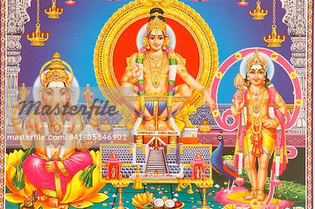 Picture of Hindu gods Ganesh, Ayappa and Subramania, India, Asia Stock Photo - Premium Rights-Managed, Artist: robertharding, Code: 841-05846901