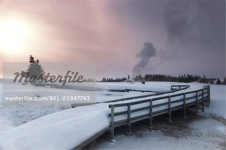 Upper Geyser Basin winter landscape, Yellowstone National Park, UNESCO World Heritage Site, Wyoming, United States of America, North America Stock Photo - Rights-Managed, Image code: 841-05847793