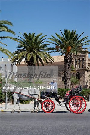 Horse and carriage and St. Nicholas Church, Zakynthos Town, Zakynthos, Ionian Islands, Greek Islands, Greece, Europe Stock Photo - Rights-Managed, Image code: 841-05848265