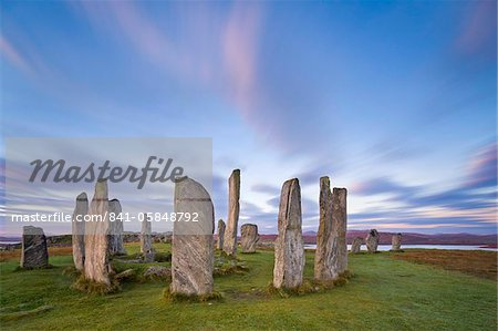 The Lewisian gneiss stone circle at Callanish on an early autumnal morning with clouds forming above, Isle of Lewis, Outer Hebrides, Scotland, United Kingdom, Europe Stock Photo - Rights-Managed, Image code: 841-05848792