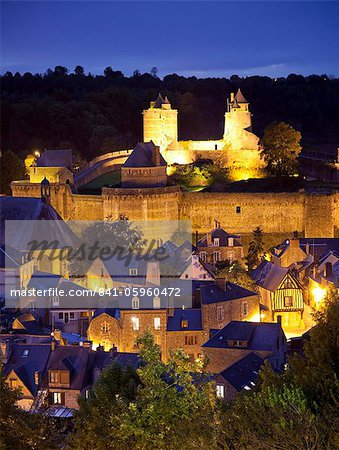Castle and old town at night, Fougeres, Brittany, France, Europe Stock Photo - Rights-Managed, Image code: 841-05960472