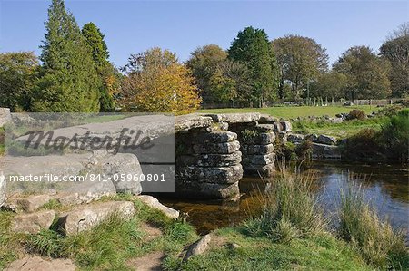 The Clapper Bridge at Postbridge, Dartmoor National Park, Devon, England, United Kingdom, Europe Stock Photo - Rights-Managed, Image code: 841-05960801