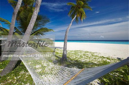Hammock and tropical beach, Maldives, Indian Ocean, Asia Stock Photo - Rights-Managed, Image code: 841-05961987