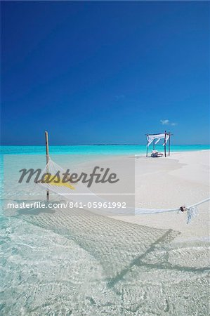 Hammock on tropical beach, Maldives, Indian Ocean, Asia Stock Photo - Rights-Managed, Image code: 841-05961992