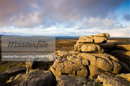 Looking out over Dartmoor National Park from Haytor, Devon, England, United Kingdom, Europe Stock Photo - Rights-Managed, Image code: 841-05962432