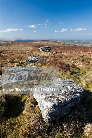 Granite outcrops near Grimspound, Dartmoor, Devon, England, United Kingdom, Europe Stock Photo - Rights-Managed, Image code: 841-05962551