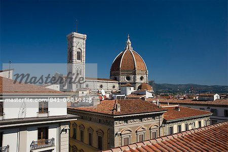 A view over teracotta rooftops to the Duomo and Campanile, Florence, UNESCO World Heritage Site, Tuscany, Italy, Europe Stock Photo - Rights-Managed, Image code: 841-06030325