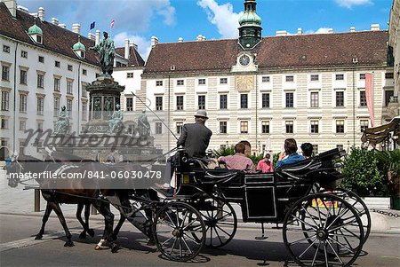 Horse-drawn carriage at the Hofburg, Vienna, Austria, Europe Stock Photo - Rights-Managed, Image code: 841-06030478