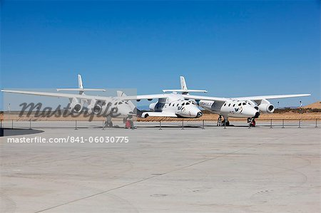 Virgin Galactic's White Knight 2 with Spaceship 2 on the runway at the Virgin Galactic Gateway, Upham, New Mexico, United States of America, North America Stock Photo - Rights-Managed, Image code: 841-06030775