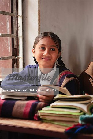 School girl in lessons, Butwal, Nepal, Asia Stock Photo - Rights-Managed, Image code: 841-06030823