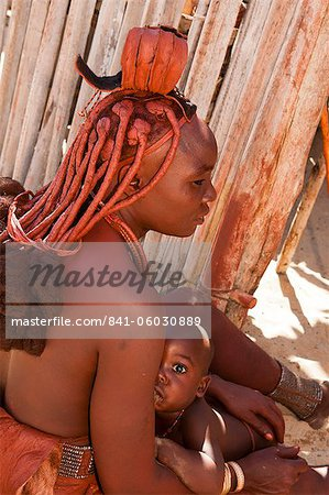 Himba woman and baby, Skeleton Coast National Park, Namibia, Africa Stock Photo - Rights-Managed, Image code: 841-06030889