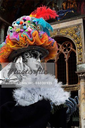 Masked figure in costume at the 2012 Carnival, Venice, Veneto, Italy, Europe Stock Photo - Rights-Managed, Image code: 841-06030935