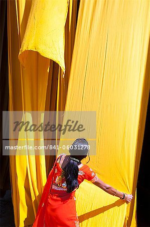 Woman in sari checking the quality of freshly dyed fabric hanging to dry, Sari garment factory, Rajasthan, India, Asia Stock Photo - Rights-Managed, Image code: 841-06031278