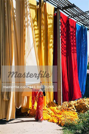 Woman in sari checking the quality of freshly dyed fabric hanging to dry, Sari garment factory, Rajasthan, India, Asia Stock Photo - Rights-Managed, Image code: 841-06031283