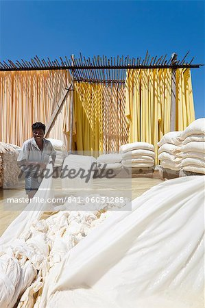 Washing fabric in a bleaching pool, Sari garment factory, Rajasthan, India, Asia Stock Photo - Rights-Managed, Image code: 841-06031285
