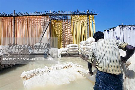 Bleaching pool, Sari garment factory, Rajasthan, India, Asia Stock Photo - Rights-Managed, Image code: 841-06031286