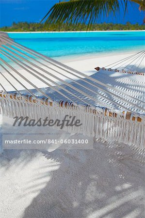 Hammock on tropical beach, Maldives, Indian Ocean, Asia Stock Photo - Rights-Managed, Image code: 841-06031400