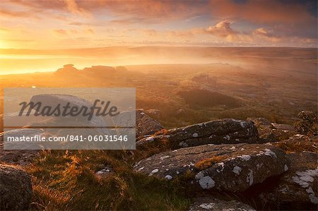 Sunrise over a misty moor viewed from Littaford Tor, Dartmoor, Devon, England, United Kingdom, Europe Stock Photo - Rights-Managed, Image code: 841-06031546