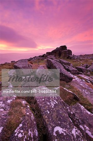 Intense fiery dawn sky above Belstone Tor, Dartmoor, Devon, England, United Kingdom, Europe Stock Photo - Rights-Managed, Image code: 841-06031594