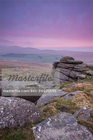 View towards High Willhays from Belstone Tor at sunrise, Dartmoor, Devon, England, United Kingdom, Europe Stock Photo - Rights-Managed, Image code: 841-06031595