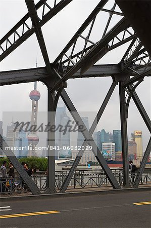 Waibaidu Bridge, formerly the Garden Bridge, the only steel bridge of its type in China, spanning Suzhou Creek at its confluence with the Huangpu River, Shanghai, China, Asia Stock Photo - Rights-Managed, Image code: 841-06032029