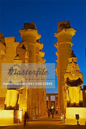 Great Court of Ramesses II and colossal statues of Ramesses II, Temple of Luxor, Thebes, UNESCO World Heritage Site, Egypt, North Africa, Africa Stock Photo - Rights-Managed, Image code: 841-06032848