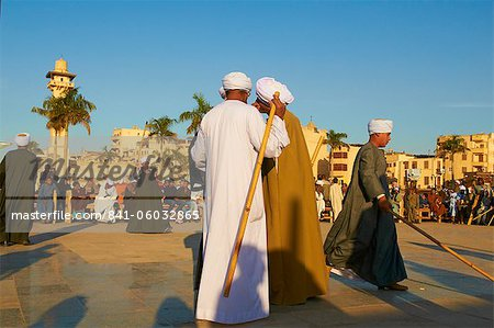 Tahtib demonstration, traditional form of Egyptian folk dance involving a wooden stick, also known as stick dance or cane dance, Mosque of Abu el-Haggag, Luxor, Egypt, North Africa, Africa Stock Photo - Rights-Managed, Image code: 841-06032865