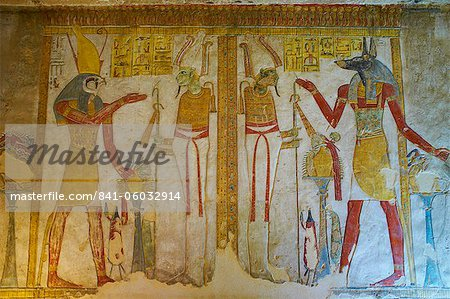 Bas-relief painted on the walls of the royal tomb, Setnakht tomb, Valley of the Kings, Thebes, UNESCO World Heritage Site, Egypt, North Africa, Africa Stock Photo - Rights-Managed, Image code: 841-06032914