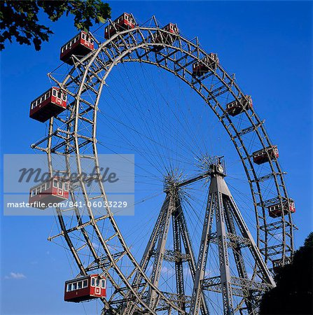 Prater Ferris Wheel featured in film The Third Man, Vienna, Austria, Europe Stock Photo - Rights-Managed, Image code: 841-06033229
