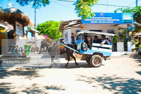 Cidomo, a horse and cart on Gili Trawangan, Gili Islands, Indonesia, Southeast Asia, Asia Stock Photo - Rights-Managed, Image code: 841-06341127