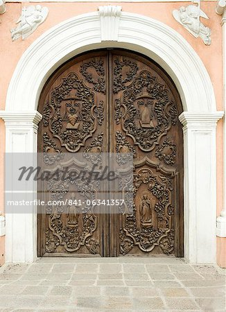 Door of San Augustin church, the oldest church in Manila dating from 1607, which survived American bombing, UNESCO World Heritage Site, Philippines, Southeast Asia, Asia Stock Photo - Rights-Managed, Image code: 841-06341357
