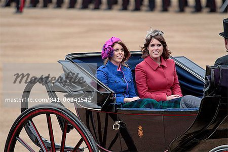 Princess Beatrice and Princess Eugenie of York, Trooping the Colour 2012, The Quuen's Birthday Parade, Whitehall, Horse Guards, London, England, United Kingdom, Europe Stock Photo - Rights-Managed, Image code: 841-06341542
