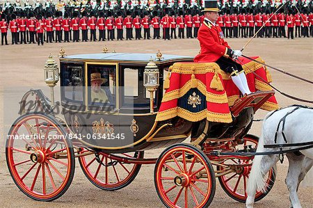 HM The Queen, Trooping the Colour 2012, The Queen's Birthday Parade, Whitehall, Horse Guards, London, England, United Kingdom, Europe Stock Photo - Rights-Managed, Image code: 841-06341545