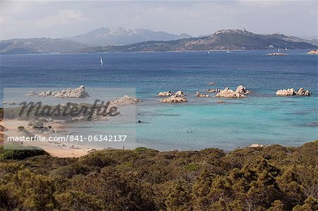The island of Caprera, Maddalena Islands, view over the coast of Sardinia, Italy, Mediterranean, Europe Stock Photo - Rights-Managed, Image code: 841-06342137