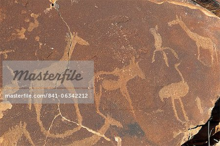 Rock engravings, Huab River Valley, Torra Conservancy, Damaraland, Namibia, Africa Stock Photo - Rights-Managed, Image code: 841-06342212