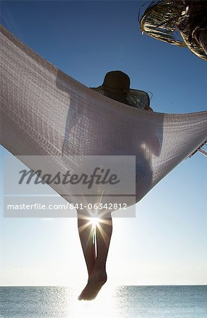 Woman in a hammock on the beach, Florida, United States of America, North America Stock Photo - Rights-Managed, Image code: 841-06342812