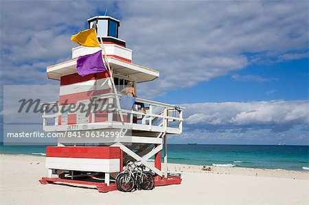 Lifeguard tower on South Beach, City of Miami Beach, Florida, United States of America, North America Stock Photo - Rights-Managed, Image code: 841-06342998